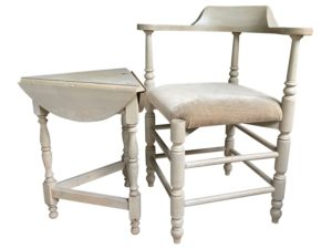 Triangular Corner Chair and Side Table Set