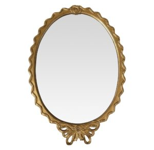 Oval Gold Leaf Beveled Glass Ribbon Mirror with Tied Bow Detail