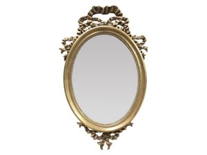 Louis J. Solomon Oval Gold Leaf Beveled Mirror with Ribbon Detail