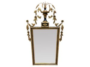 Louis J. Solomon Black and Gold Beveled Mirror with Floral Motif