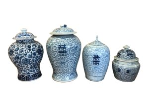 Blue and White Chinoiserie Ginger Jars, Set of 4