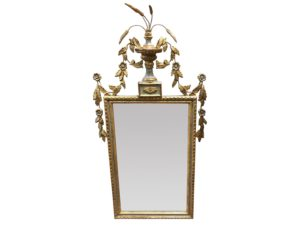 Louis J. Solomon Grey and Gold Beveled Mirror with Floral Motif
