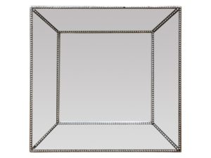 Louis J. Solomon Silver Square Beveled Mirror with Beaded Detail