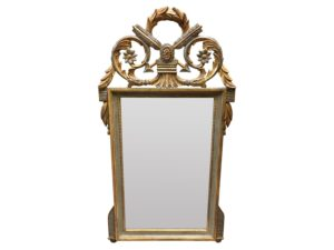 Louis J. Solomon Gray and Gold Beveled Mirror with Arrow Motif