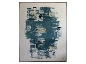 Blue Teal Abstract Painting, Signed