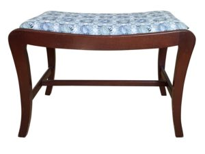 Blue and White Upholstered Small Wooden Side Bench