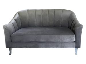Hollywood Style Channel- Back Loveseat with Acrylic Legs