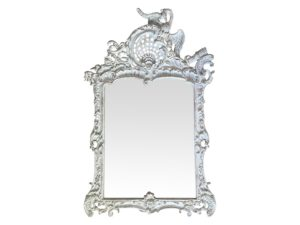 Vintage White Carved Continental Mirror with Smokey Glass
