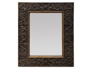 Louis J. Solomon Beveled Mirror Brown and Gold Detailed Frame