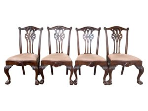 Chippendale Style Dining Chairs with Pink Fabric, Set of 4