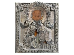 St. Nicholas Old Russian Icon in Silver and Egg Tempera on Wood