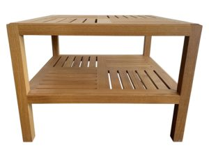 Contemporary Wood Slatted Side Table in Geometric Design