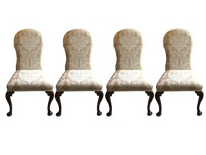 English Style Side Chairs Upholstered in Damask Fabric, Set of 4