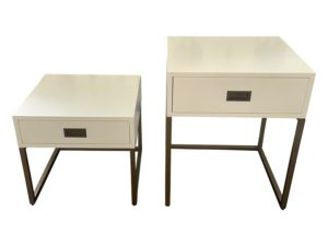 RH Teen Avalon Nesting Side Tables in Waxed White