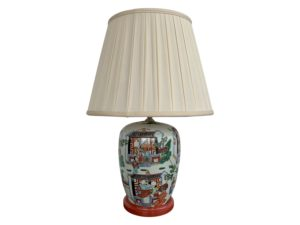 Chinoiserie Lamp with Cream Pleated Fabric Shade