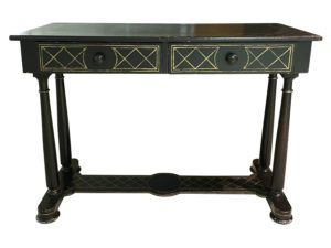 Vintage Black Hand Painted Console with Gold Lattice Detail