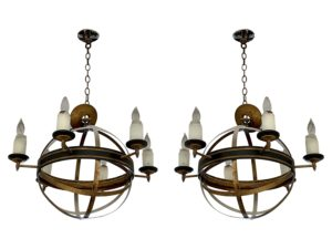Black and Gold Large Globe 6 Light Pendants Chandeliers, Pair