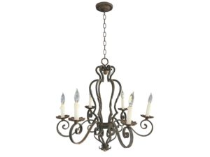 Vintage French Style Iron Scrolled 6-Arm Chandelier