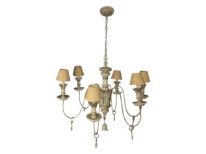 Wood Painted 6 Arm Chandelier with Linen Shades